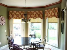 From The Workroom of Parkway Window Works: Trick or Treatment Window Cornices, Bay Window Curtains, Window Coverings, Window Blinds, Window Seats, Burlap Curtains, Room Window, Corner Window Treatments, Lounge
