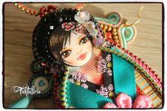 Gheisha & Moico, Art doll, OOAK, handmade embroidered work