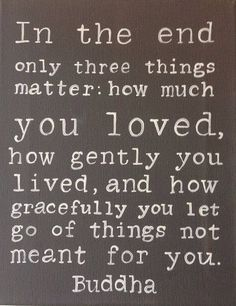 In the end only three things matter: how much you loved, how gently you lived, and how gracefully you let go of things not meant for you.