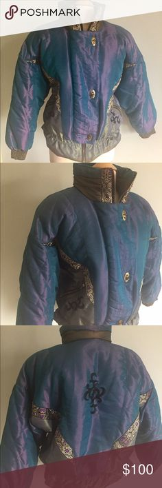"J. Gallery iridescent ski jacket size small Excellent puffy ski jacket. Iridescent blues and greens. Size small. 100% nylon lining. She'll rayon and polyester. Bust is 24"" flat. Length is 26"" gathered waist. Preloved but hardly worn. J. Gallery Jackets & Coats Puffers"