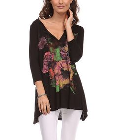 Look what I found on #zulily! Black & Pink Floral Notch Neck Tunic - Plus by A La Tzarina #zulilyfinds