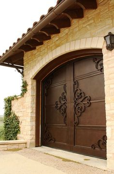 Garage Door - Wrought Iron Doors, Windows, Gates, & Railings from Cantera Doors LOVE the doors - VL Gates And Railings, Garage Door Design, Diy Garage, Garage Ideas, Custom Garage Doors, Modern Garage Doors, Garage Door Makeover, Garage Plans, Wrought Iron Doors