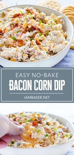 This no-bake Bacon Corn Dip is the ultimate crowd-pleaser!! The ingredients in this recipe are super simple and easily adaptable to what you have in your pantry. In less than 10 minutes, you can have a creamy and flavorful appetizer perfect for your football parties! Corn Dip, Super Easy, Dips, Bacon, Easy Meals, Appetizers, Dinner, Recipes, Food