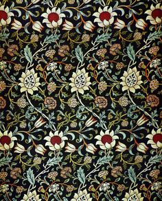 Tejido con decoración floral -  William Morris