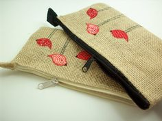 Zipper pouch with red birds burlap makeup pouch burlap