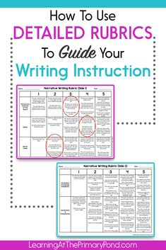 Rubric scores help me SO much in planning my writing instruction. In this post, I use a video to walk you through my thinking about how I use a first grade narrative writing rubric to plan instruction! - Learning at the Primary Pond Kindergarten Writing, Teaching Writing, In Writing, Essay Writing, Writing Ideas, Literacy, Teaching Ideas, Paragraph Writing, Opinion Writing