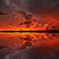 beautiful Fire Sunset to Saint-Raphael, Var France