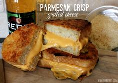 Parmesan Crisp Grilled Cheese made with Texas toast frozen cheese bread. Sooooo decadent!
