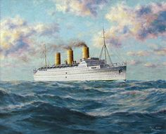 """""""The """"Empress of Britain"""". Ship Paintings, The Empress, Beautiful Ocean, Cruise Ships, Water Crafts, Battleship, Pacific Ocean, Titanic, Britain"""