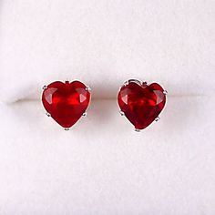 25 carats Heart Cut Red Fire Garnet CZ 7mm Stud Post by 1000jewels, $14.00