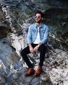 Casual outfits for the stylish man Denim jacket, white t-shirt, black jeans and brown boots. Great simple outfit that can be worn to a variety of events.