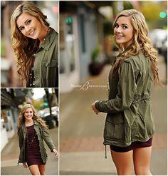 Outdoor senior pictures of Edmonds Woodway cheeleader in olive jacket__Brooke Clark_Studio B Portraits_0150.jpg