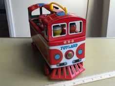VINTAGE TINPLATE BATTERY OPERATED TOY LAND TROLLEY BUS - MODERN TOYS JAPAN   eBay