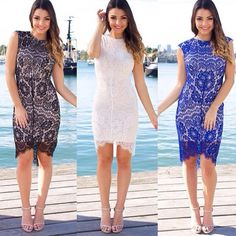 Our gorgeous Nasiba lace dress in 3 stunning colours - black, white & blue which one is your favourite?   Shop here www.elavonza.com ✈ worldwide shipping   #Elavonza #dressup #dress #modelstyle #datenightoutfit #dressup #lacedress #lacelover #whitelace #whitelacedress #blacklace #blackdress #blacklacedress #bluedress #sexydress #sexylace #mididress #weddingfashion #bridetobe #bridalinspo #bridalshower #bloggerstyle #modelstyle #weddingguest