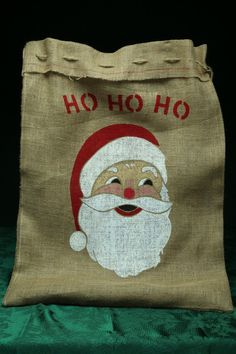 Uncle Doug's Burlap Santa Stocking Bag, Ho Ho Ho! on Etsy, $30.00
