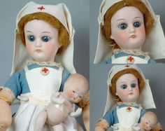 """Nurse Patient 10"""" Early Closed Mouth Sonneberg Type Antique Doll 1880 Display 