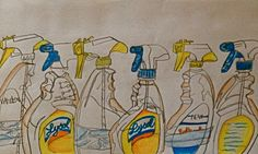 contour drawing. spray bottles. cleaning supplies. lysol. repetition. pen. color pencil.