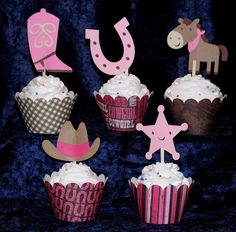 Cowgirl Cupcake Toppers Cow Girl Western Paper Pieced topper  ... pink and brown ... choose number and kind of topper in your mix