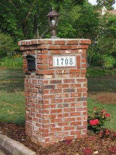 I Love This Lantern On The Brick Column With Mailbox And