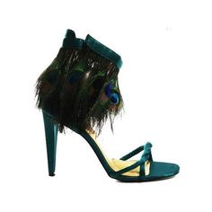 Martinez Valero 'Carla' green satin peacock feather sandals ❤ liked on Polyvore featuring shoes, sandals, feather shoes, green sandals, peacock shoes, peacock feather shoes and peacock print shoes