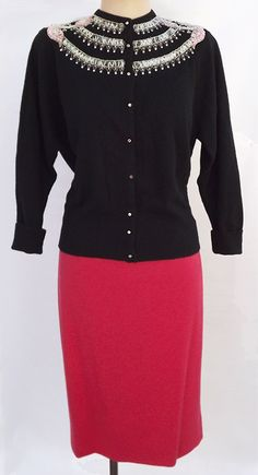 Vtg. 40s-50s PinUp-esque BEADED CASHMERE CARDIGAN & WIGGLE KNIT PENCIL SKIRT (styin'!)