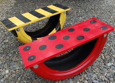 Tire see saw for kids.