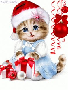 The perfect Cute Cat Gifs Animated GIF for your conversation. Merry Christmas Gif, Christmas Scenes, Christmas Animals, Christmas Cats, Christmas Wishes, Christmas Pictures, Vintage Christmas, Christmas Holidays, Christmas Decorations
