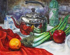 스텐 주전자, 정물수채화, 서양화, 정물화, 미술, 입시, 수채화, 정물, 그림, 묘사, 대구, 화실
