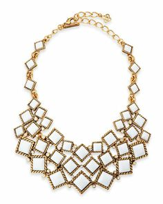 Square Resin Cabochon Bib Necklace, White by Oscar de la Renta at Neiman Marcus.