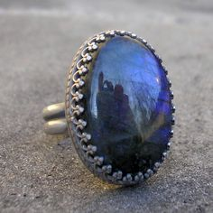 Labradorite Ring - Blue Labradorite Ring - Fancy Bezel Labradorite Silver Ring - Blue Labradorite Oval Cabochon Sterling Ring - US Size 7 by lsueszabo on Etsy https://www.etsy.com/listing/128317648/labradorite-ring-blue-labradorite-ring
