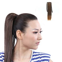 High Quality Synthetic Ribbon Tied Chestnut Brown Horsetail Ponytail Straight Hairpiece
