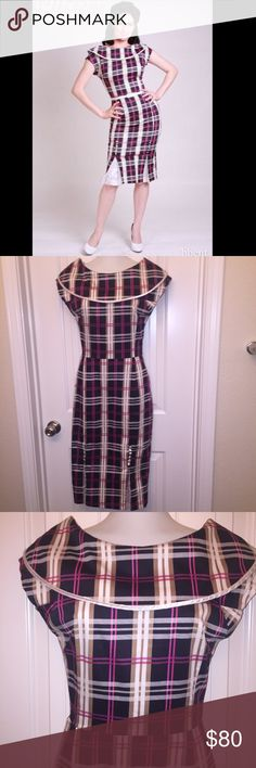Bettie Page Brand Brown and Pink Plaid Pinup Dress Bettie Page Brand Pinup Girl Retro Vintage Dress! Adorable brown and pink plaid pattern. Size XS. Only worn a couple of times! Excellent condition! The primary stock photo shows it styled with a belt but the actual dress didn't come with a belt and there's no belt loopholes. Looking for a good new home! 💝 Bettie Page Dresses