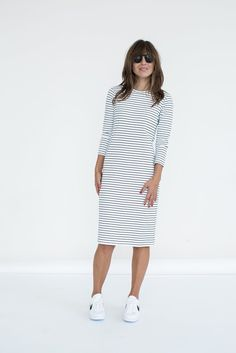 COLOR: white/black stripe DESCRIPTION: With its straight silhouette and easy, versatile fit, the Reese dress has become a Sonnet James classic. Introducing new color variants for 2016. DETAILS: fits t