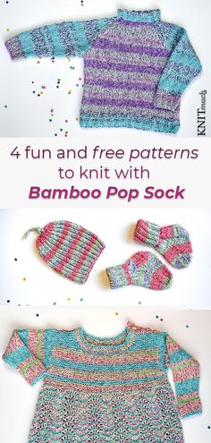 Bamboo Pop Sock is a versatile yarn that is both so cool and fun to knit with! Try these 4 free patterns for the wee ones, and for summer fun knitted clothing! Free patterns! #Universalyarn #bamboopopsock #FreeBabyKnittingPatterns Knitting Help, Knitting For Kids, Baby Knitting Patterns, Hand Knitting, Pop Socks, Universal Yarn, Quick Knits, Sock Yarn, Yarns