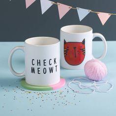 'check meowt' ceramic mug by oakdene designs | notonthehighstreet.com