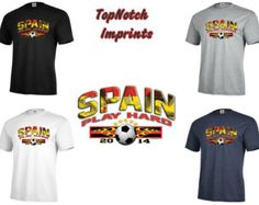 Spain World Cup Soccer Fifa T-Shirt S-3XL Football 2014 Player Adult Play Hard 1