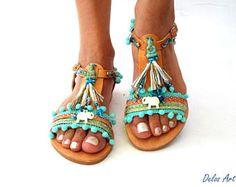 0e4f50486744 Delos Art Leather Sandals. by DelosArt. Boho SandalsBeaded SandalsFashion SandalsGladiator  SandalsLeather SandalsPom ...