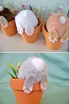 Curious little bunny pots: Top 27 Cute and Money Saving DIY Crafts to Welcom. - DIY and crafts - Curious little bunny pots: Top 27 Cute and Money Saving DIY Crafts to Welcome The Easter - Kids Crafts, Bunny Crafts, Cute Crafts, Diy And Crafts, Arts And Crafts, Easy Easter Crafts, Easter Dyi, Easy Crafts, Easter Gift