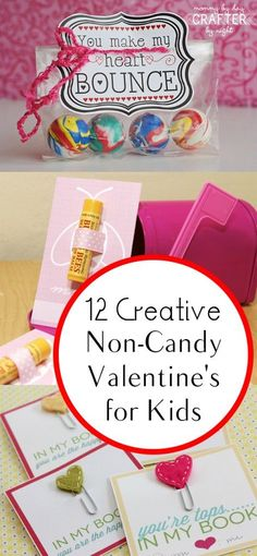 12 Creative Non-Candy Valentine's idea for Kids. Glow sticks, chapsticks, magnifying glasses and the list goes on!  Really cute and unique.