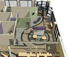 To create the best space plan for the Venture Bank location in Olympia, Washington, Design and Manufacture created a model of the existing floor plan wit Concept Board Architecture, Library Architecture, Architecture Design, Bank Interior Design, Interior Sketch, Exterior Design, Office Layout Plan, Office Space Planning, Home Office