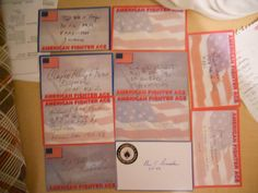 10 US  FIGHTER ACES LOT 1 -AUTOGRAPHS/SIGNED INDEX CARDS-