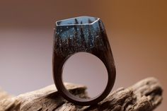 "Walnut wood ring ""Midnight Snowfall"" So gorgeous!"