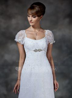 Empire-Linie U-Ausschnitt Gericht Zug Satin Schnur Brautkleid mit Perlen verziert (002000214)
