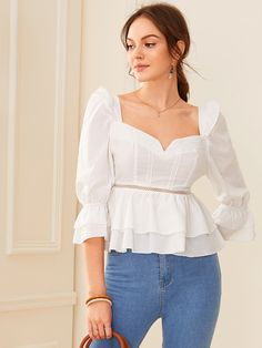To find out about the Sweetheart Neck Ruffle Trim Layered Peplum Top at SHEIN, part of our latest Blouses ready to shop online today! Peplum Tops, Peplum Dress, Ruffle Trim, Ruffles, Lace Ruffle, Lace Fabric, Lace Inset, Blouse Styles, Types Of Sleeves