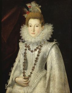 Follower of Alonso Sánchez Coello - Portrait of a lady, half length, wearing a white richly embroidered dress and holding a necklace