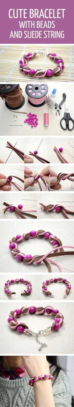 How to make cute bracelet with beads and suede strings #diy #tutorial