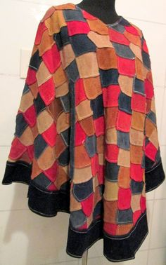 1970s Vintage Suede Patchwork Poncho by MISSVINTAGE5000 on Etsy, $95.00