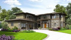 <ul><li>A mixed material exterior loaded with windows greets you to this modern house plan with an open floor plan. The covered entry opens to reveal the foyer with views to the expansive great room.</li><li>The great room is open to the dining room and that is open to the kitchen. A sliding wall in the dining room leads to your outdoor patio which has a covered and an uncovered portion.</li><li>The kitchen has a large island with seating and...