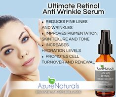 Azure Natural's ULTIMATE RETINOL Anti-Wrinkle Serum with 2.5% Retinol is one of the most effective ingredients for reducing fine lines and wrinkles.  Our ULTIMATE RETINOL serum is the most advanced Retinol product currently available. We have designed a delivery system that allows very high strength 2.5% Retinol to be used around the eyes and even by people with sensitive skin. $21.95 - http://www.azurenaturals.com/collections/retinol-products/products/ultimate-retinol-anti-wrinkle-serum