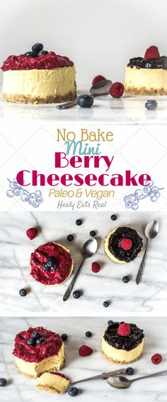 No Bake Mini Berry Cheesecake (Paleo & Vegan) via @healyeatsreal - I love this easy healthy no bake mini berry cheesecake! It's one of my favorite desserts with it's fluffy texture and creaminess that melts in your mouth.
